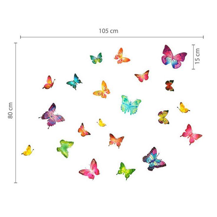 adesivi murali farfalla 21 singole farfalle vivacemente colorato per ...