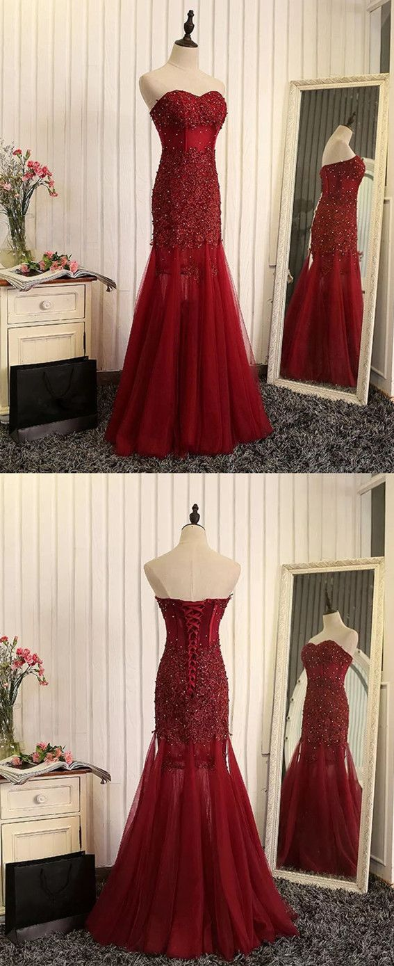 burgundy lace prom dresses,sweetheart prom dress,lace evening gowns,maroon evening gown,tulle evening dress