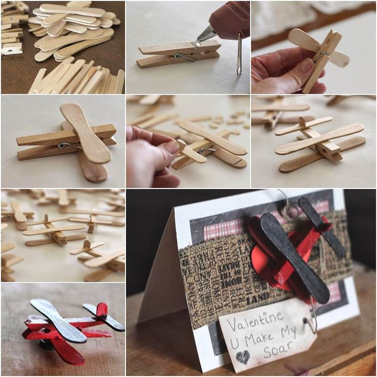DIY Clothespin and Popsicle Stick Airplane | iCreativeIdeas.com Follow Us on Facebook --> https://www.facebook.com/icreativeideas
