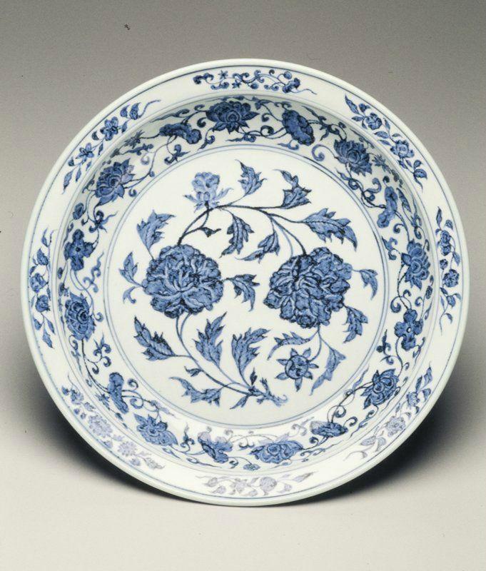Dish, Ming dynasty, 1403-1424. Jingdezhen ware. Porcelain with underglaze cobalt blue decor; 2 15/16 x 15 3/4 in. (7.46 x 40.01 cm). Minneapolis Institute of Arts