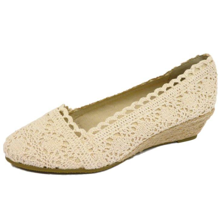 LADIES CREAM CROCHET SUMMER SLIP-ON HESSIAN WEDGE KITTEN HEEL PUMPS SHOES 3-8 | eBay