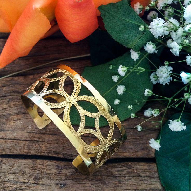 18K yellow gold plated openwork cuff. #jewelry #jewellery #craftedbyhand #cuff #bracelet