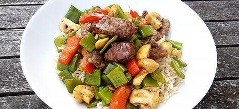 Deze rijst met snijbonen, champignons, rode paprika en zoete reepjes biefstuk staat lekker snel op tafel. Het makkelijke en lekkere recept vind je hier.