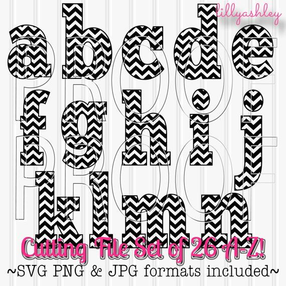 Chevron Letter SVG set Lowercase Includes A through by LillyAshley