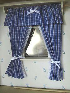 blau-karierte,klassische Miniatur-Puppenhaus-GARDINE für Küche,16,5cm lang   eBay