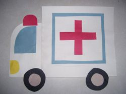 Community Helper Art:AmbulanceCrafts Ideas, Community Helpers Art, Ill, Art Ideas For Cars Preschool, Community Workers, Ambulance Craft, Police Crafts For Preschool, Social Study, Preschool Police Crafts