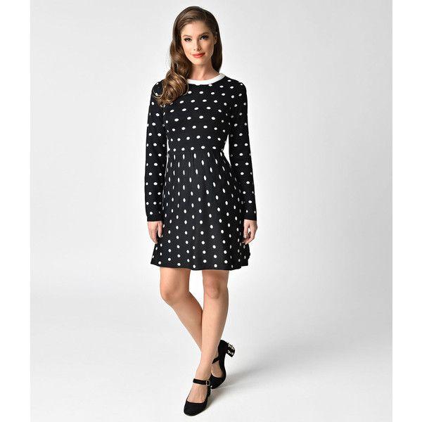 1950s Style Black & White Dot Knit Flare Dress ($48) ❤ liked on Polyvore featuring dresses, black, polka dot dress, long sleeve a line dress, black and white long dress, long sleeve dress and long sleeve pencil dress