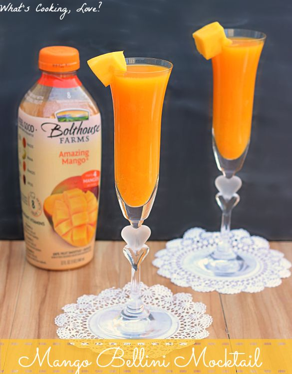 Mango Bellini Mocktails.  Delicious non-alcoholic drinks that are made using Bolthouse Farms Amazing Mango juice.  #spon #BolthouseFarms