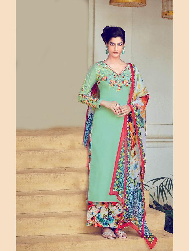 Light Green Cotton Satin Palazzo Style Suit 70183