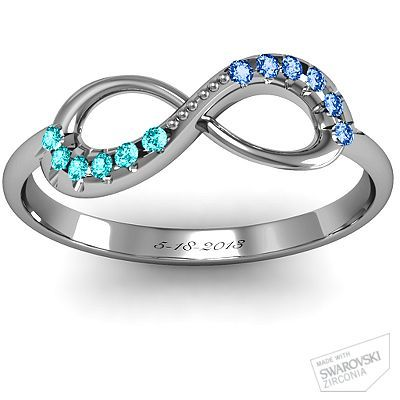 Infinity Accent Ring - bride and groom birthstones with wedding date engraved! So cute!!!