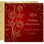 Gold rose on red, confetti 50th Anniversary Card