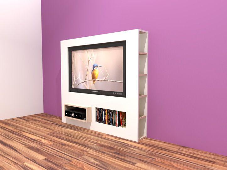 Bouwtekening TV kast, zelf een hangend tv-meubel maken. Uitgebreide werktekening met handleiding en stappenplan om een hangend / zwevend tv-meubel te maken.