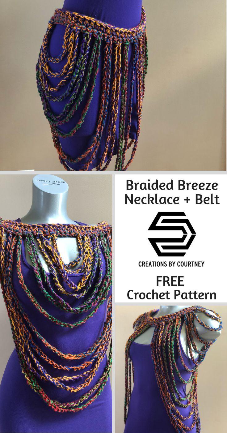 Braided Breeze Necklace + Belt: Free Crochet Pattern