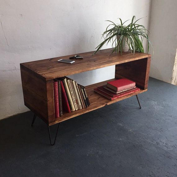 Large Rustic Industrial Record Player/ Vinyl Storage Cabinet / Side Table on Hairpin Legs