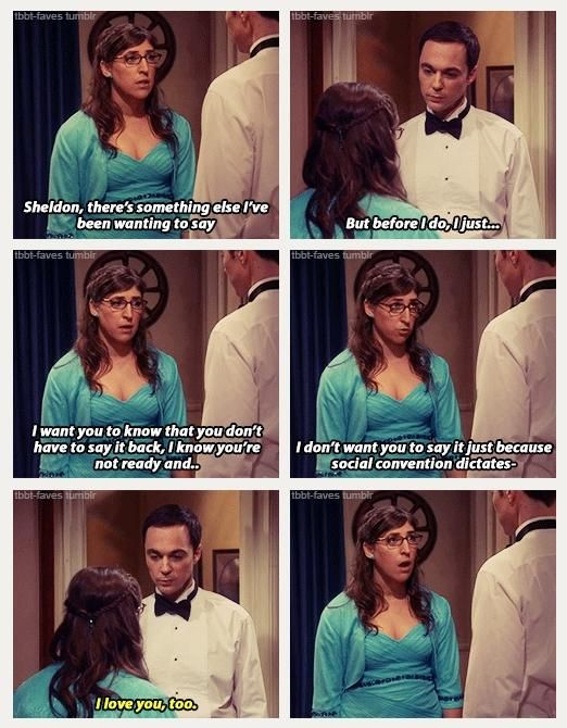 it's official, Sheldon loves Amy #shamy Big Bang Theory. LOVED this scene!