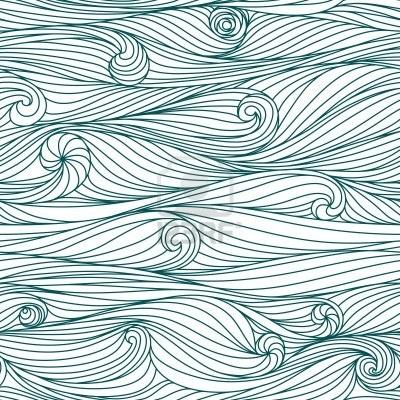 Résumé, bleu, dessinée à la main motif, des vagues de fond. Seamless pattern peut être utilisé pour le papier peint, motifs de remplissage, fond de page web textures de surface,. Banque d'images