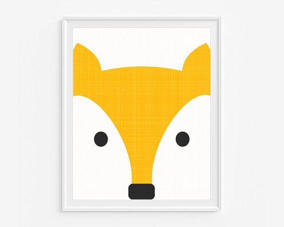 Fox nursery giclee print- Yellow kids room decor- Wall art for children- (A-314)