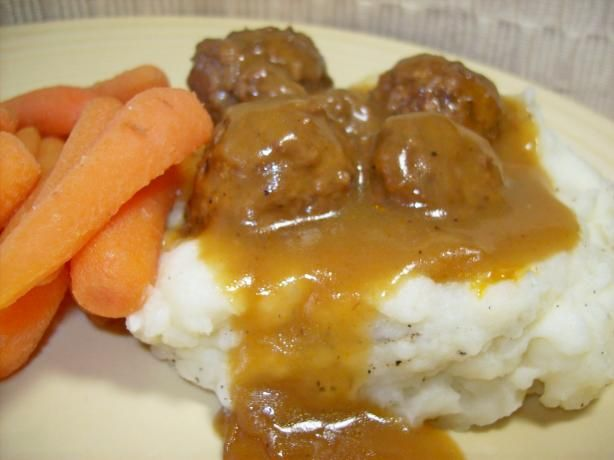 """please Make Those Meatballs!""- Crockpot Meatballs 1 (1 1/2 lb) bag  frozen meatballs, thawed (I usually put them in frozen to save time)    2 (10 1/2 ounce) cans  cream of mushroom soup, undiluted    1 (1 ounce) envelope  brown gravy mix    1   beef bouillon cube (can be omitted to cut down sodium)    1  cup water"