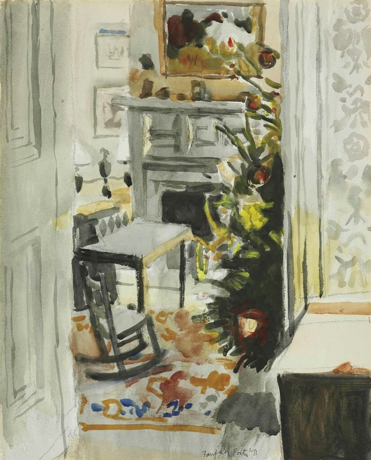 Fairfield Porter (American 1907-1975), Interior with Christmas Tree, 1971. Watercolor and pencil on paper, 20 x 16 in.