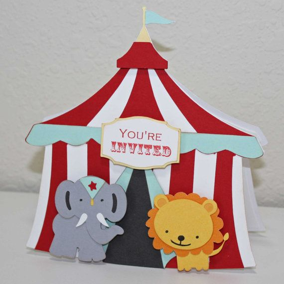 Circus Birthday Invitations  - circus invitations, elephant and lion on circus tent, set of 12