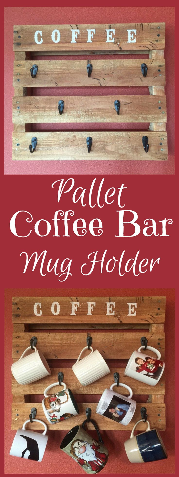 Pallet coffee cup holder. Comes ready to hang on wall with brackets. Can be personalized with different verbiage at top, or see other listing variations. #wood #afflink #coffee #coffeebar #kitchendesign #rustic #rusticdecor #rusticfarmhouse #farmhouse #farmhousekitchen