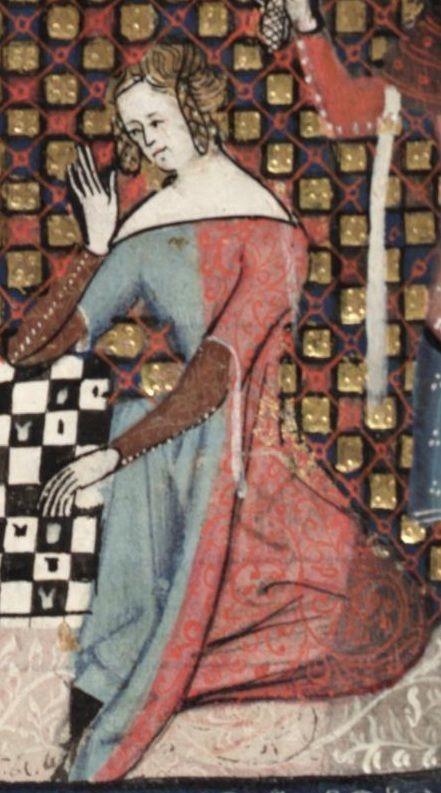 14th century, mi-parti cotehardie (Romance of Alexander?)  Färgerna påminner om Leffe-dräkterna