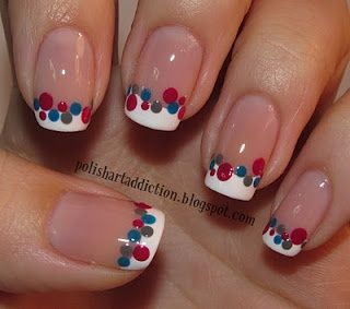 super cool for wedding...white tips with hot pink, silver and light pink dots??--sweet