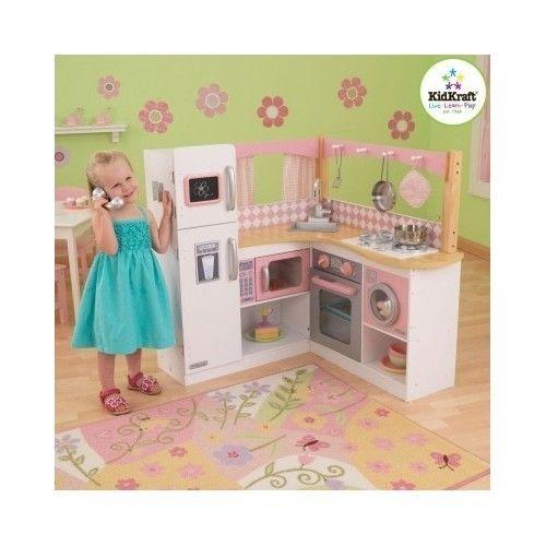 Kids Furniture Kidkraft Corner Kitchen Wooden Pretend Food Deluxe Cook Play Set