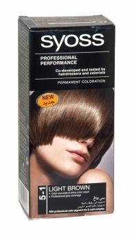Syoss Professional Permanent Hair Colour 5-1 Light Brown Co-developed and tested by hairdressers and colorists. Professional grey coverage. Syoss, the permamnent coloration in professional quality for home usage - with color pigment mix and nutri complex. Contains caring color cream, application bottle with developer milk, sachet with color-seal conditioner, instruction leaflet and gloves.