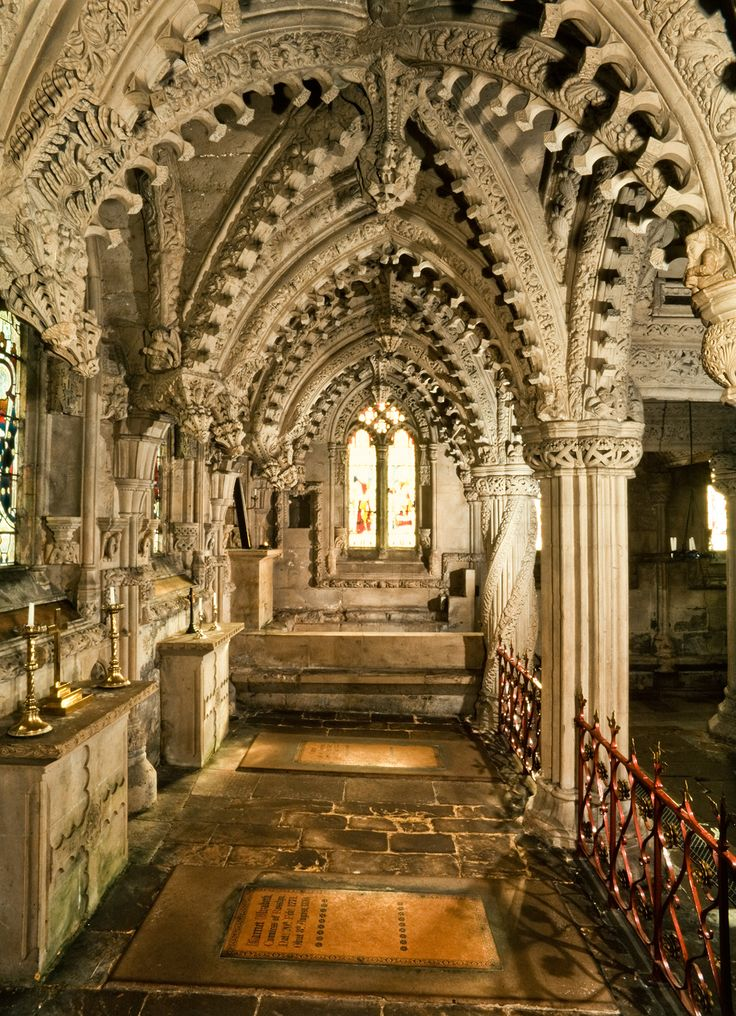 Rosslyn Chapel, formerly known as the Collegiate Chapel of St Mathew built in the mid 15th century, Roslin Midlothian, Scotland