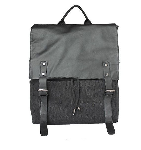 11.8 x 12.6 laptop bag/ Black CanvasLeather by FashionCanvasShop, $49.00