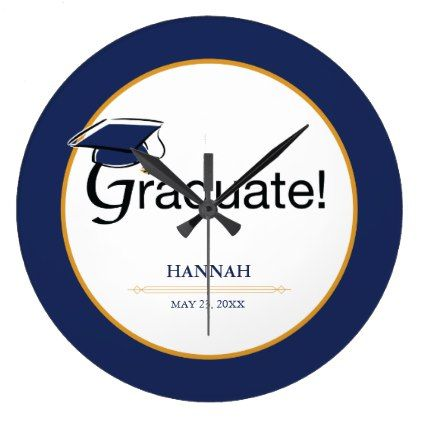 Congratulations Graduate Hat Tassel Blue Gold Large Clock - graduation gifts giftideas idea party celebration