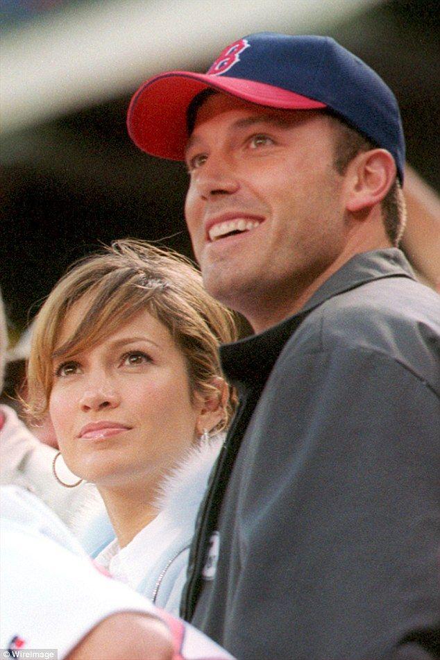 Ben Affleck & Jennifer Lopez at a    Boston Red Sox game on April 27, 2003