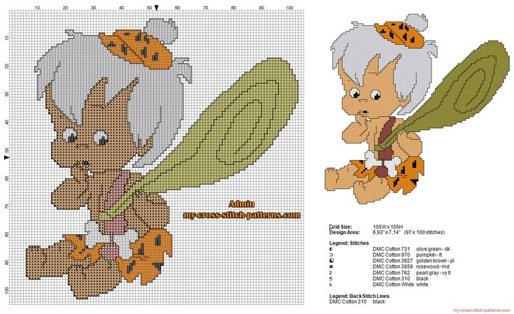 Bamm-Bamm Rubble The Flintstones free cross stitch pattern