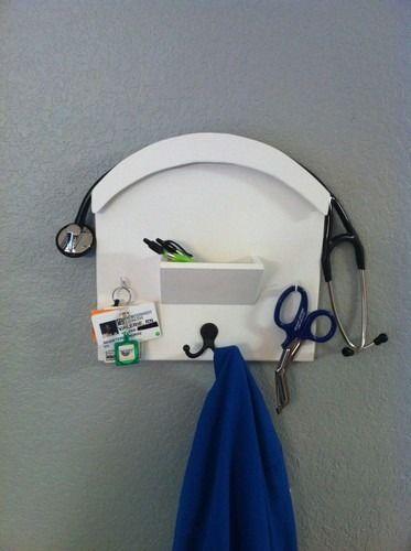 Stethoscope Wall Holder / Nurse Storage Station / Handmade Wood Medical Storage
