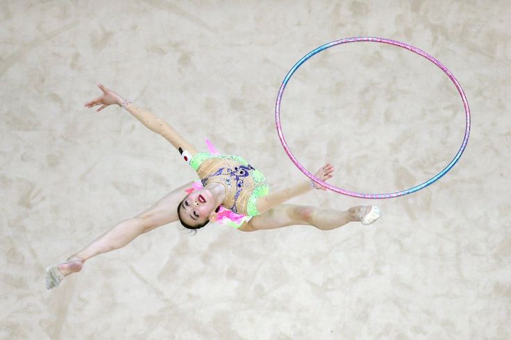 Takana Tatsuzawa of Japan competes in Rhythmic Gymnastics Individual All-Around Qualification on day ten of the Nanjing 2014 Summer Youth Olympic Games at Nanjing OSC Gymnasium on Aug. 26, 2014 in Nanjing.