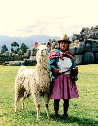 Quechua Indian woman and her Llama