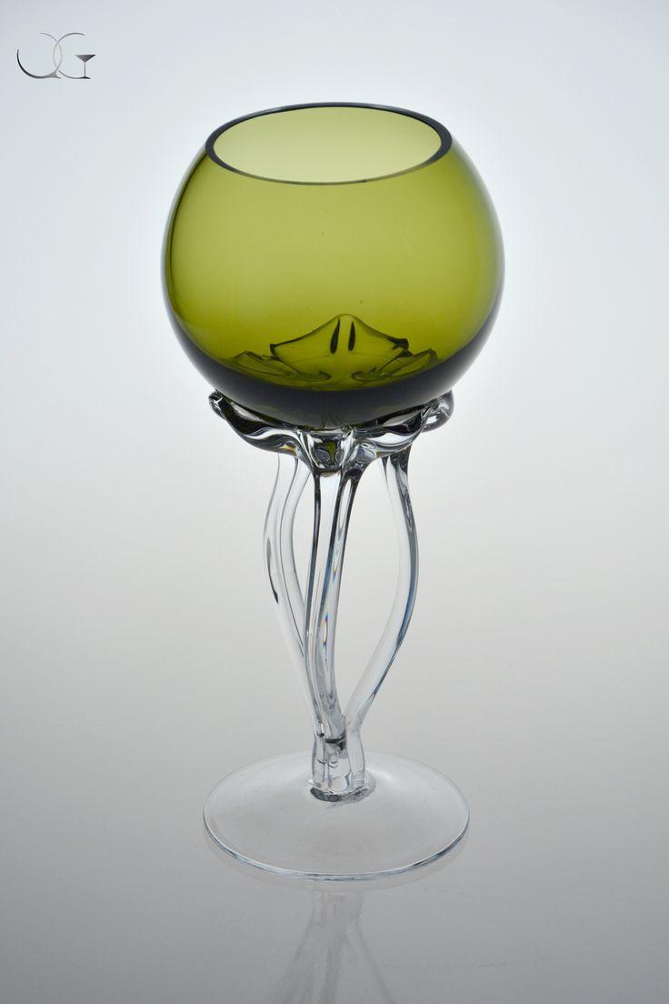 Zielony świecznik - green candlestick - handmade