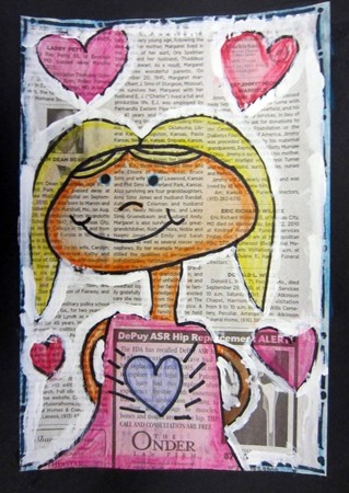 drawing on newspaper...would be cute to place the heart right over a certain word like Love or travel...