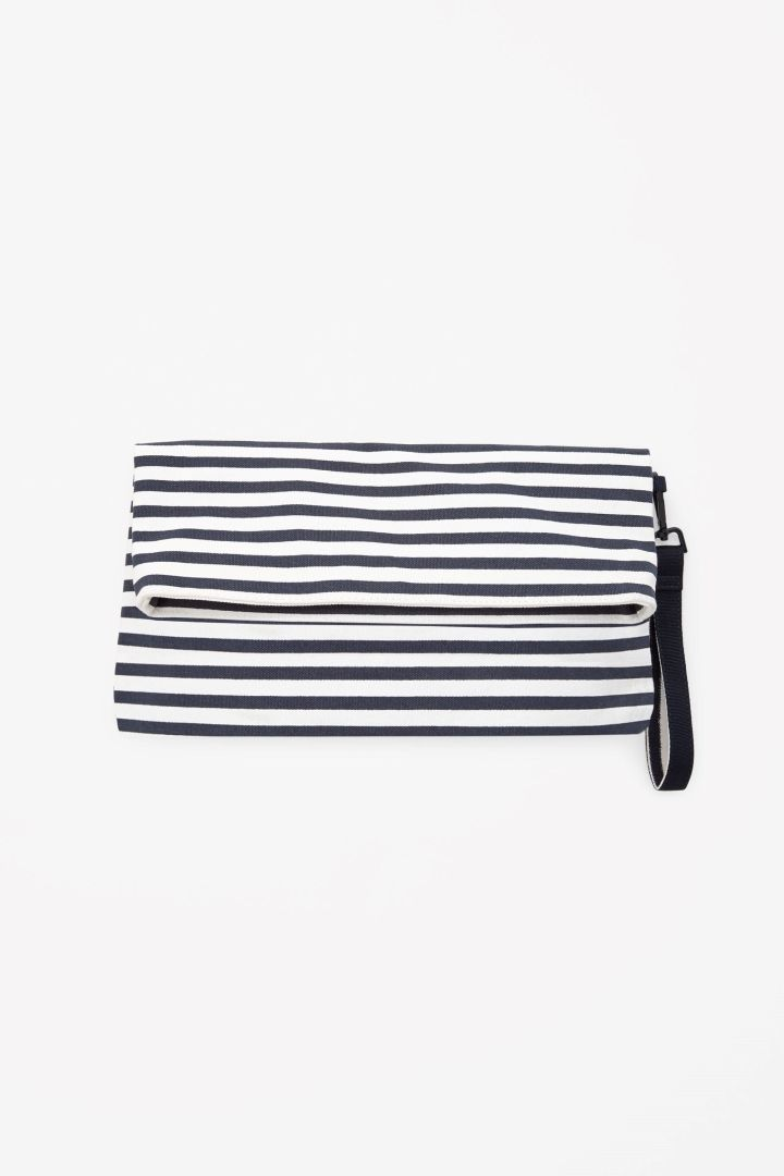 Striped canvas pouch
