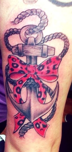Anchor tattoo with leopard print bow