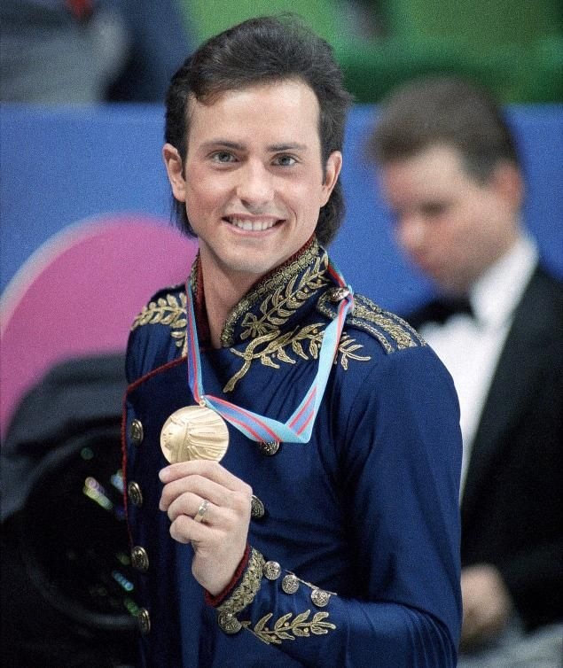 images of brian boitano | Brian Boitano pictured here with his gold medal on Feb. 20, 1988 in ...