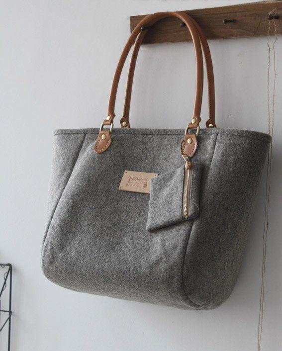 Handmade Grey Bag Purse/Shoulder Handbag-Felt Wool by Burlap Design (Etsy)