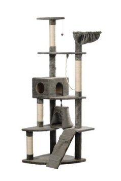Cat Tree 191 cm Grey Plush: Amazon.co.uk: Pet Supplies