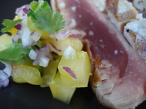 Recipe for Grilled Ahi with Yellow Tomato and Avocado Relish
