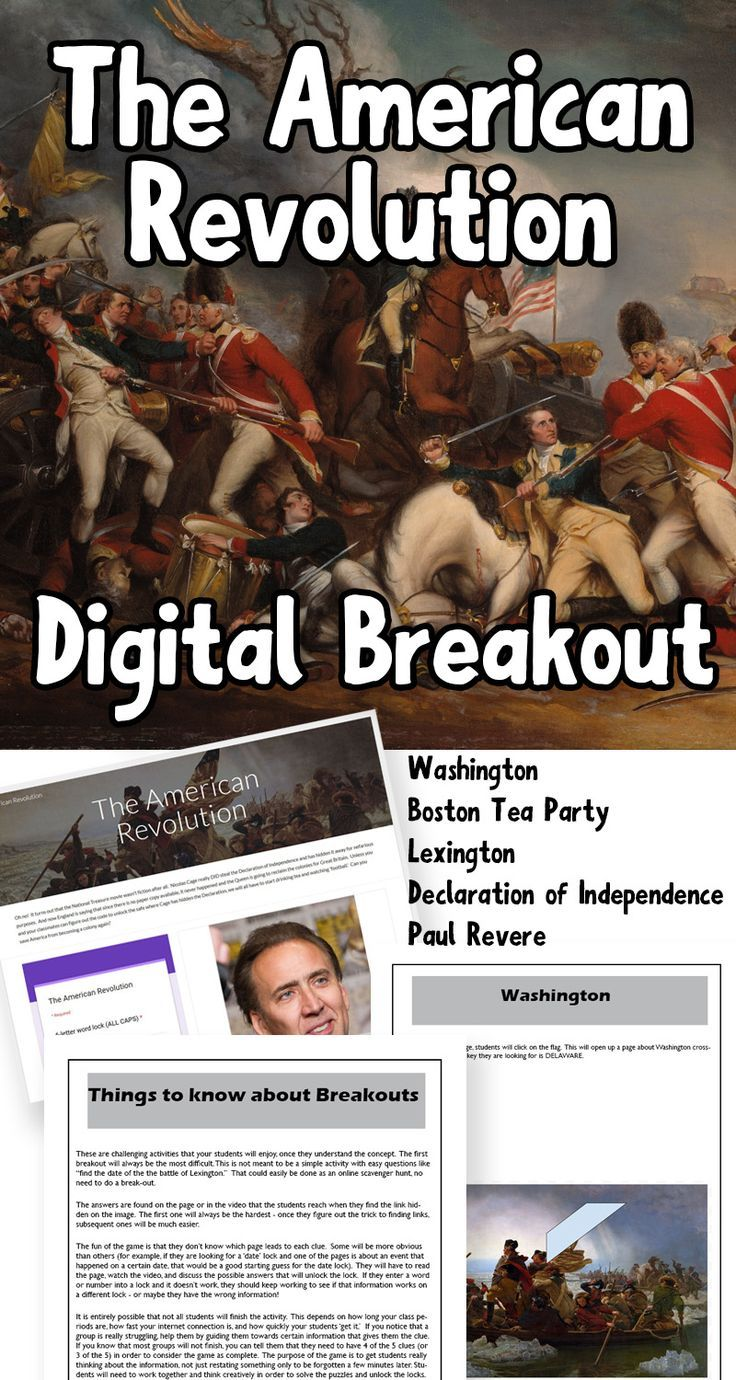Breakout games are fun, but can take a lot of prep time and materials.   This digital breakout is all the challenge and fun with less hassle!   Students will need computers/laptops with internet access, and can do  the breakout individually or in small groups.  Use this as an  introduction to the American Revolution or as a fun way to review.  The breakout includes: Lexington Paul Revere the Declaration of Independence Boston Tea Party George Washington