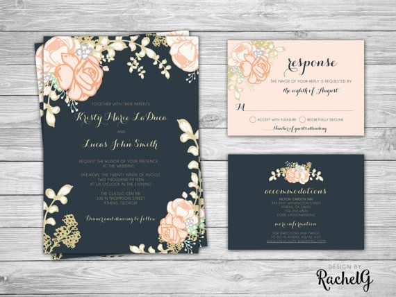 Wedding Invitation Set Floral Blush Navy and by DesignbyRachelG