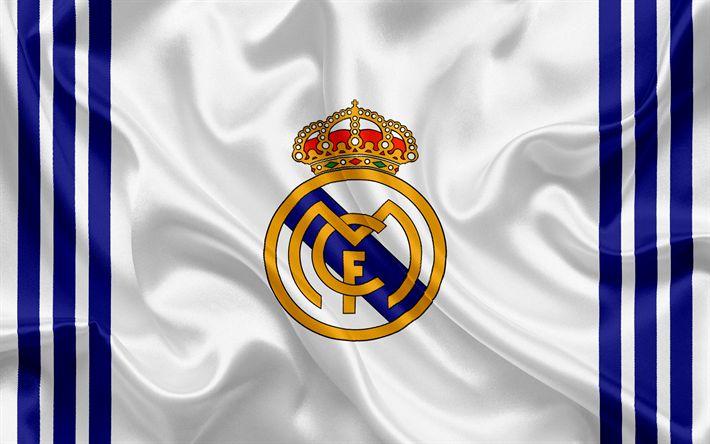 Descargar fondos de pantalla El Real Madrid, club de fútbol español, el emblema, el Real Madrid logo de La Liga bbva, Madrid, España, de la LFP, los Campeonatos de Fútbol español