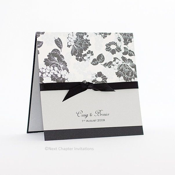 BLOOMINGDALES  A sophisticated invitation on charcoal metallic card, laser printed on silver metallic paper, trimmed perfectly with 10mm black satin ribbon and Annie P Bloomingdales fine paper. Includes a matching silver metallic envelope. Price: $5.95 https://www.facebook.com/NextChapterWeddingInvitations