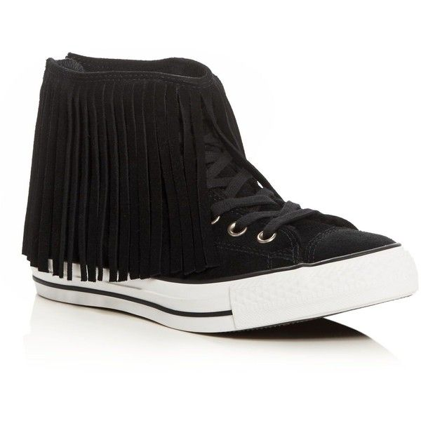 Converse Women's Chuck Taylor All Star Fringe High Top Sneakers ($100) ❤ liked on Polyvore featuring shoes, sneakers, black, converse trainers, black high top sneakers, black hi tops, converse shoes and black fringe shoes